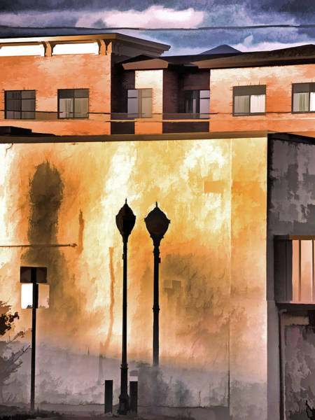 Mixed Media - Lamp Post Shadow And Bent Sign by Lynda Lehmann