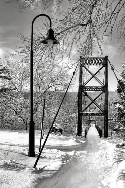 Photograph - Lamppost And Androscoggin Swinging Bridge In Winter by Olivier Le Queinec