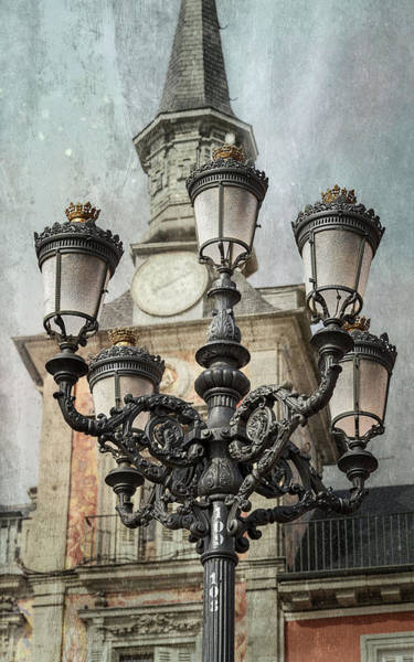 Photograph - Lamppost Plaza Mayor Madrid Spain by Joan Carroll