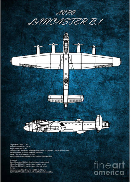 Wall Art - Digital Art - Lancaster Bomber Blueprint by J Biggadike