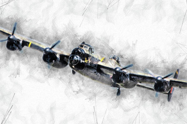 Wall Art - Digital Art - Lancaster Bomber Sketch by J Biggadike