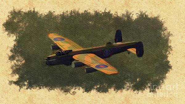 Wall Art - Painting - Lancaster Bomber - World War Two by Esoterica Art Agency