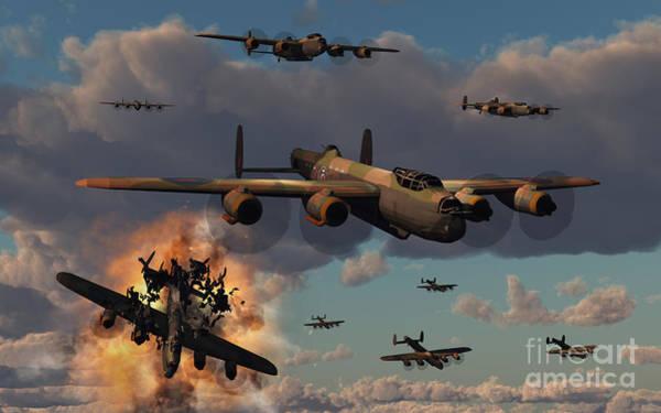 Digital Art - Lancaster Heavy Bombers Of The Royal by Mark Stevenson