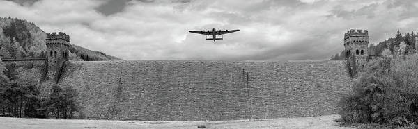 Photograph - Lancaster Over The Derwent Dam Bw Version by Gary Eason