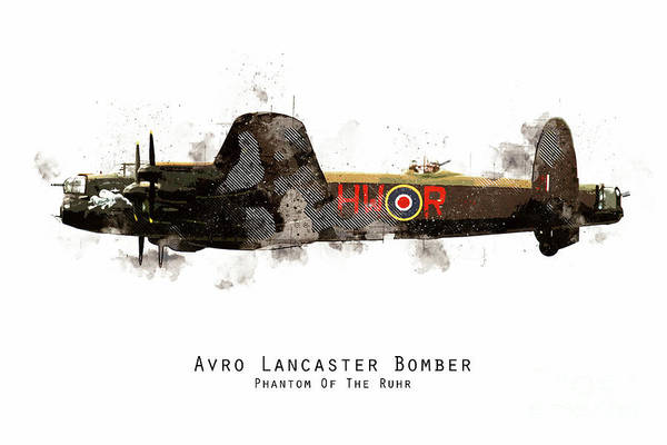 Wall Art - Digital Art - Lancaster Sketch - Phantom Of The Ruhr by J Biggadike