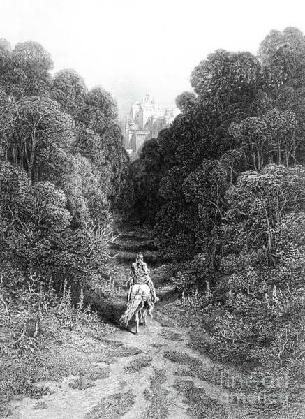 Woodland Drawing - Lancelot Approaches The Castle At Astolat by Gustave Dore
