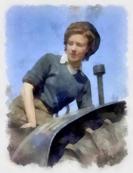 Vintage Tractor Painting - Land Army Girl On A Tractor Wwii by Esoterica Art Agency