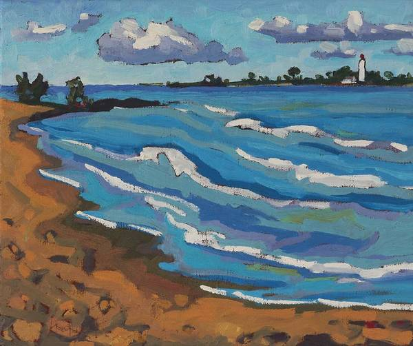 Lake Huron Painting - Land Breeze Cumulus Over Chantry by Phil Chadwick