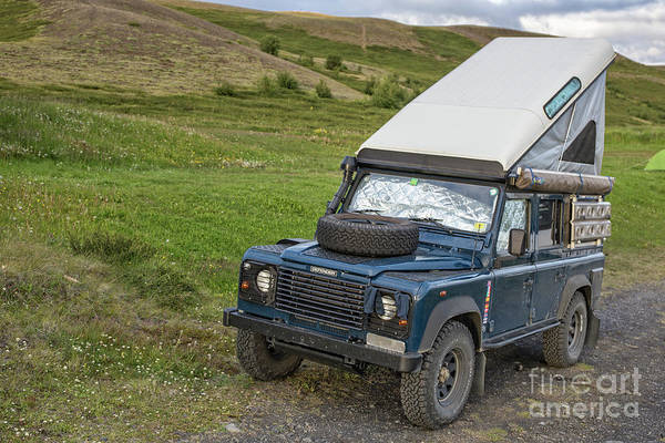 Wall Art - Photograph - Land Rover Defender Camper Iceland by Edward Fielding