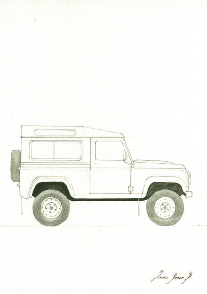 Wall Art - Painting - Land Rover Defender by Juan Bosco