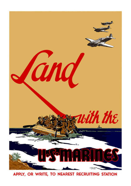 Marine Wall Art - Painting - Land With The Us Marines by War Is Hell Store