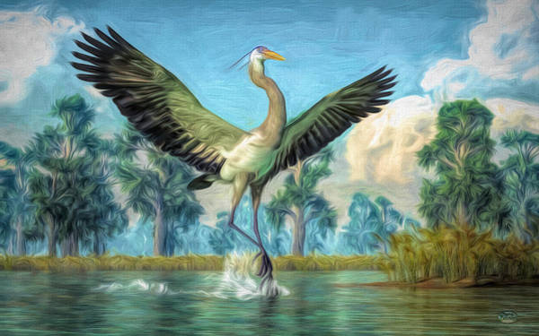 Digital Art - Landing Heron by Daniel Eskridge