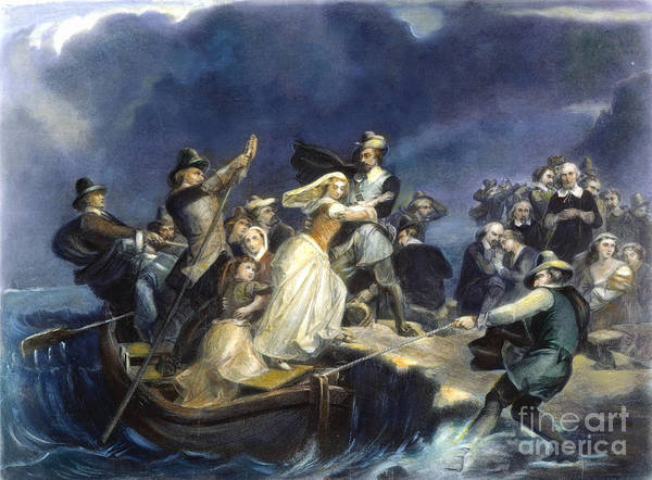 Plymouth Rock Photograph - Landing Of The Pilgrims by Granger