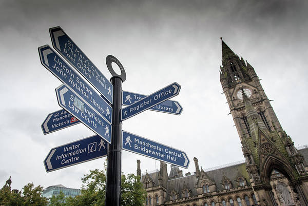 Greater Manchester Wall Art - Photograph - Landmarks Signpost Manchester by Michalakis Ppalis