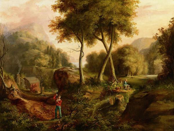 Mountain Range Painting - Landscape, 1825 by Thomas Cole