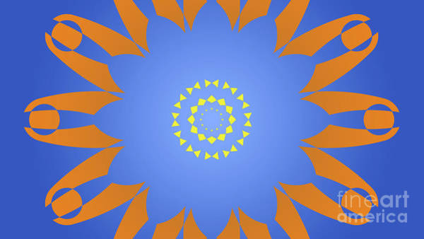 Arte Digital Art - Landscape Abstract Blue, Orange And Yellow Star by Drawspots Illustrations