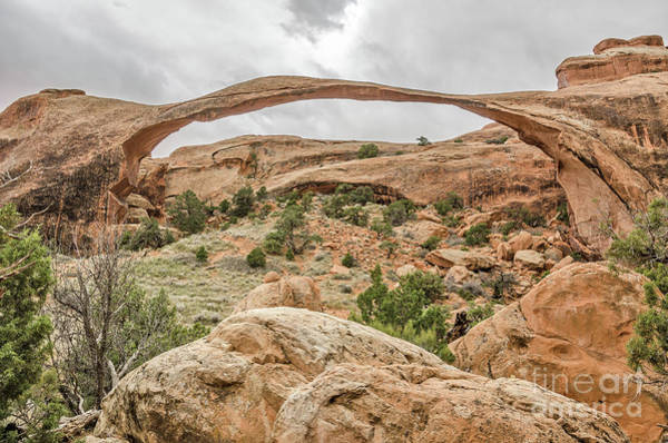 Photograph - Landscape Arch Against A Cloudy Sky by Sue Smith