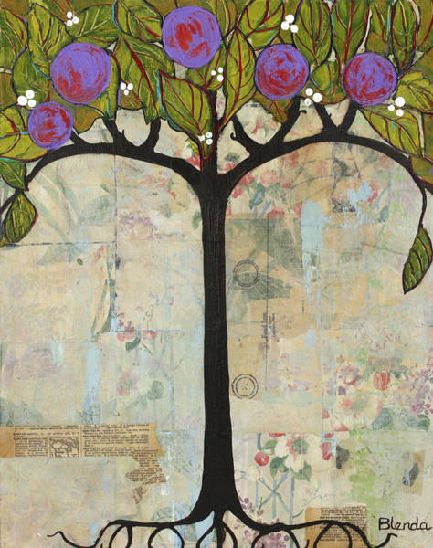 Wall Art - Painting - Landscape Art Tree Painting Past Visions by Blenda Studio