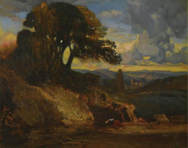 Gabriel Painting - Landscape At Sunset by Alexandre-Gabriel Decamps