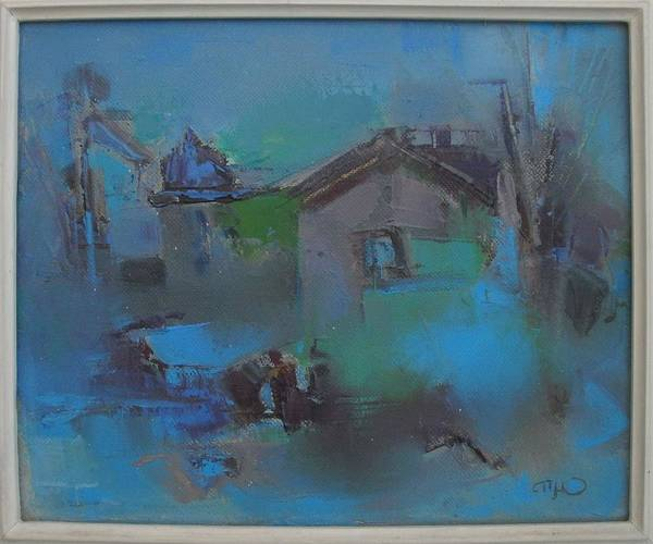 Wall Art - Painting - Landscape In Blue by Pemaro