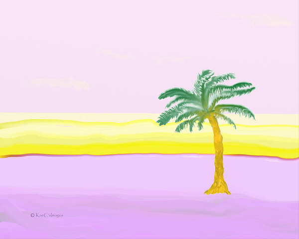 Digital Art - Landscape In Pink And Yellow by Kae Cheatham