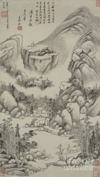 Wall Art - Drawing - Landscape In The Style Of Huang Gongwang, Hanging Scroll, 1638 by Wang Shimin