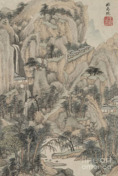 Wall Art - Painting - Landscape In The Style Of Various Old Masters In The Style Of Ma Wan by Wang Jian