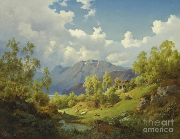 Wall Art - Painting - Landscape, Motif From The Numme Valley In Norway, 1850 by Joachim Frich