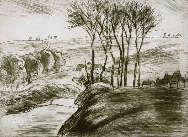 French Artist Drawing - Landscape Near Osny  by Camille Pissarro