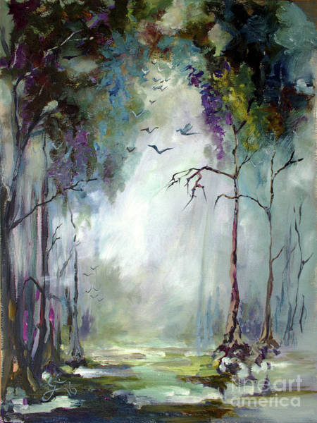 Painting - Landscape Portrait Wetland Misty Morning With Birds by Ginette Callaway