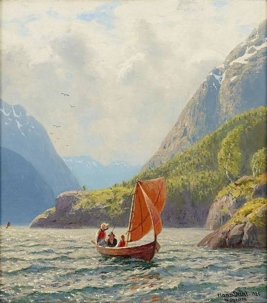 Wall Art - Painting - Landscape River by Hans Dahl