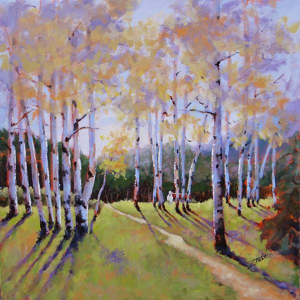 Long Shadow Painting - Landscape Series 3 by Laura Lee Zanghetti