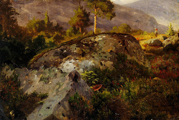 Norwegian Painting - Landscape Study From Vaga by Hans Gude