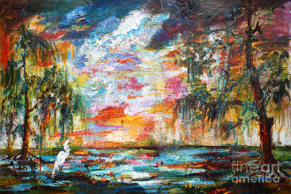 Painting - Landscape Okefenokee Sunset With Egret by Ginette Callaway