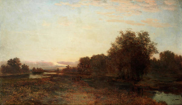 Russian River Painting - Landscape With A Boat by Gavril Pavlovich Kondratenko