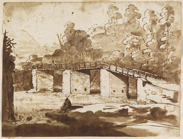 Wall Art - Drawing - Landscape With A Bridge by Claude Lorrain