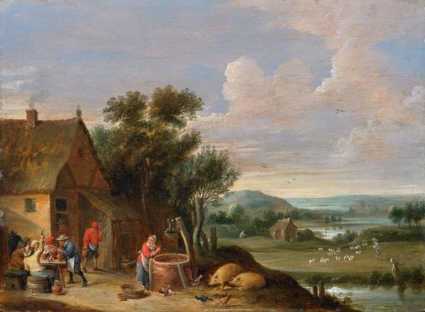 Farmstead Painting - Landscape With A Farmstead by Thomas van