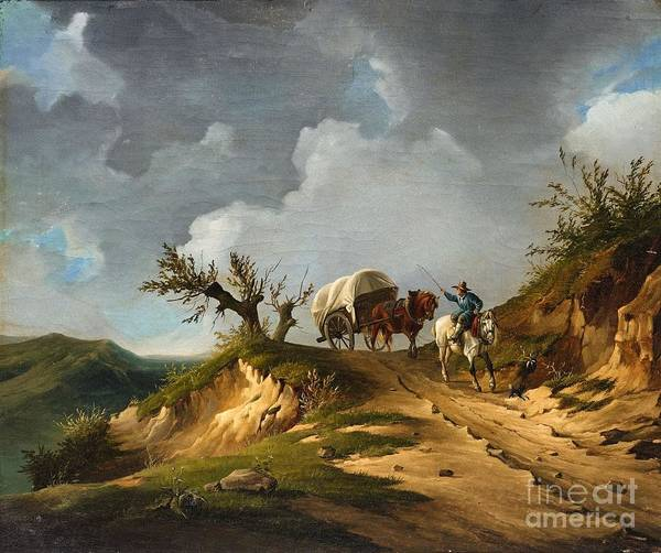 Circa Painting - Landscape With A Horseman And Carriage by MotionAge Designs