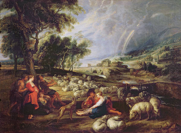 The Shepherdess Wall Art - Painting - Landscape With A Rainbow by Rubens