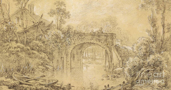 Etching Drawing - Landscape With A Rustic Bridge by Francois Boucher