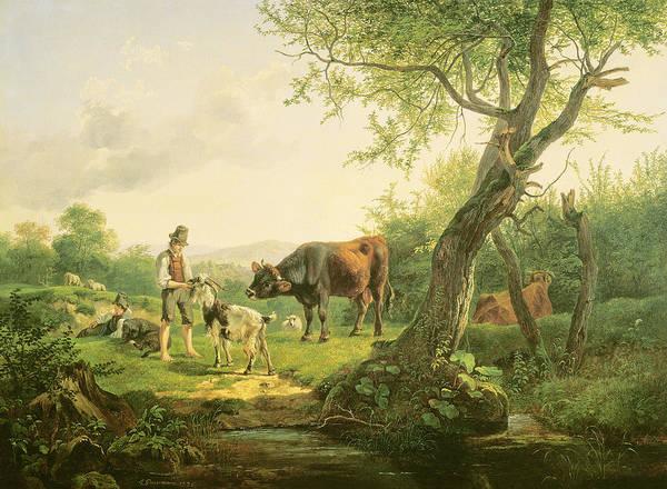 Wall Art - Painting - Landscape With A Shepherd by Friedrich Gauermann