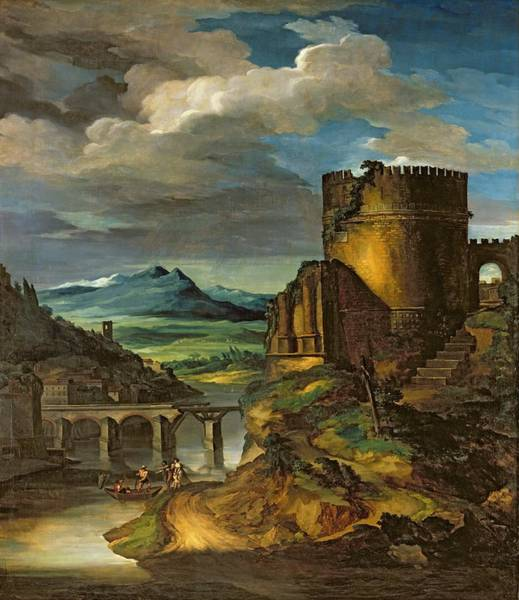 Italian Architecture Painting - Landscape With A Tomb  by Theodore Gericault