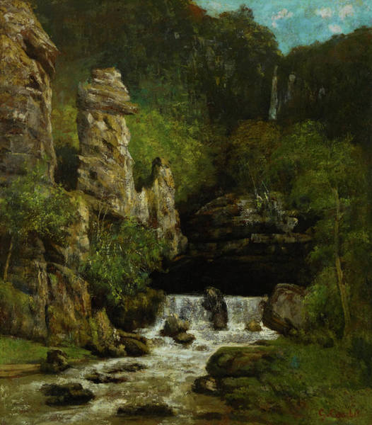 Outcrop Painting - Landscape With A Waterfall by Gustave Courbet