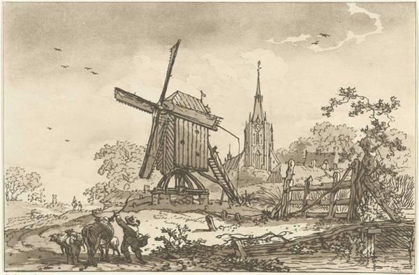 Meijer Painting - Landscape With A Windmill And A Church, Hendrik Meijer, 1789 - 1793 by Hendrik Meijer