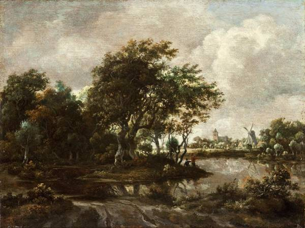 Meindert Hobbema Painting - Landscape With Anglers And A Distant Town by Celestial Images