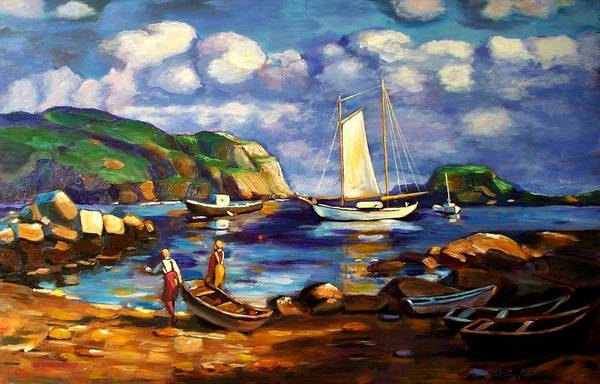 Landscape With Boats Art Print