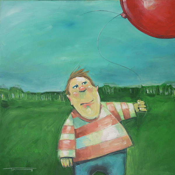 Painting - Landscape With Boy And Red Balloon by Tim Nyberg