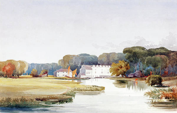 Painting -  Landscape With Buildings And Winding Stream by James Bulwer