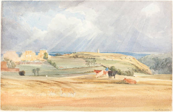 Wall Art - Drawing - Landscape With Cattle by James Bulwer