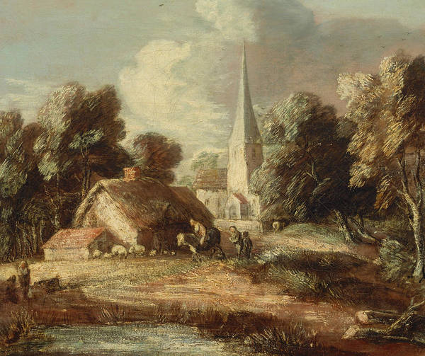 Painting - Landscape With Cottage And Church by Thomas Gainsborough